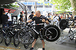 Radioshack-Nissan mechanic unloads the Trek bikes before the Prologue of the 99th edition of the Tour de France 2012, a 6.4km individual time trial starting in Parc d'Avroy, Liege, Belgium. 30th June 2012.<br /> (Photo by Eoin Clarke/NEWSFILE)