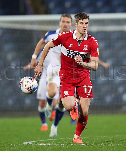 3rd November 2020; Ewood Park, Blackburn, Lancashire, England; English Football League Championship Football, Blackburn Rovers versus Middlesbrough; Paddy McNair of Middlesbrough races after the through ball