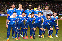 Members if Unites States' soccer team pose for a group photo before an international friendly at the Alamodome, Wednesday, April 15, 2015 in San Antonio, Tex. USA defeated Mexico 2-0. (Mo Khursheed/TFV Media via AP Images)