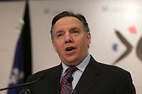 May 27, 2013 File Photo - <br />  FranÁois Legault, Leader Coalition Avenir Quebec speak at the Board of TRade of Metropolitan Montreal