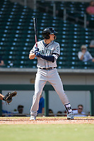 Peoria Javelinas first baseman Evan White (15), of the Seattle Mariners organization, at bat during an Arizona Fall League game against the Mesa Solar Sox at Sloan Park on October 11, 2018 in Mesa, Arizona. Mesa defeated Peoria 10-9. (Zachary Lucy/Four Seam Images)