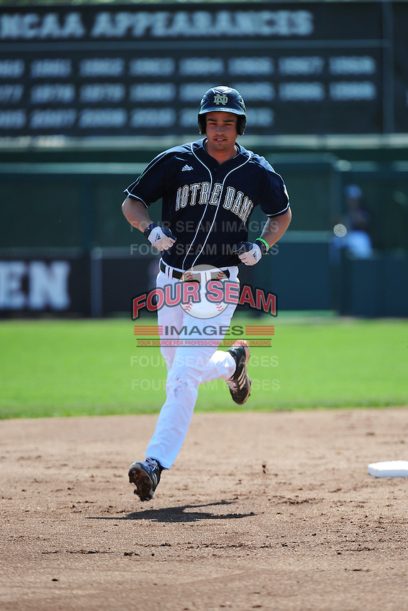 University of Notre Dame Fighting Irish infielder Trey Mancini (3) hits a home run during game against the St. John's University Redstorm at Jack Kaiser Stadium on May 12, 2013 in Queens, New York. St. John's defeated Notre Dame 2-1.      . (Tomasso DeRosa/ Four Seam Images)