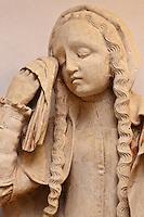 Europe/Europe/France/Midi-Pyrénées/46/Lot/Carennac: Mise au tombeau du XV ème dans la salle  capitulaire du cloitre -  Détail: Marie-Madeleine