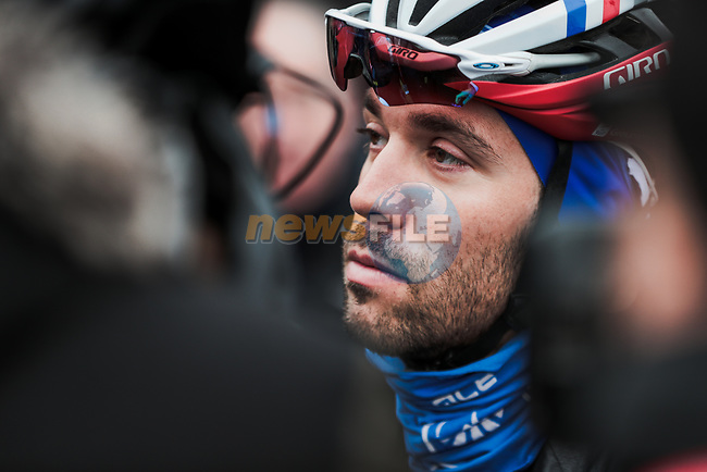Thibaut Pinot (FRA) Groupama-FDJ at sign on before Stage 3 of the 78th edition of Paris-Nice 2020, running 212.5km from Chalette-sur-Loing to La Chatre, France. 10th March 2020.<br /> Picture: ASO/Fabien Boukla | Cyclefile<br /> All photos usage must carry mandatory copyright credit (© Cyclefile | ASO/Fabien Boukla)