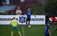 Jake Williams looks for support during the Central League football match between Miramar Rangers and Lower Hutt AFC at David Farrington Park in Wellington, New Zealand on Saturday, 10 April 2021. Photo: Dave Lintott / lintottphoto.co.nz