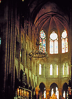 Interior detail of Notre Dame Cathedral. Gothic architecture.