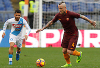 Roma's Radja Nainggolan, right, is chased by Napoli's Lorenzo Insigne during the Italian Serie A football match between Roma and Napoli at Rome's Olympic stadium, 4 March 2017. <br /> UPDATE IMAGES PRESS/Riccardo De Luca