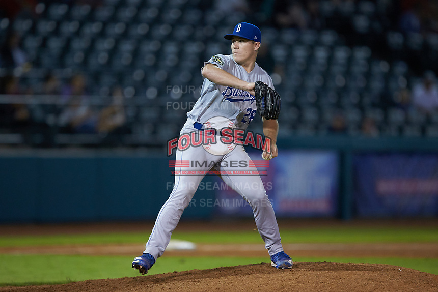 Burlington Royals relief pitcher Elliott Anderson (28) in action against the Pulaski Yankees at Calfee Park on September 1, 2019 in Pulaski, Virginia. The Royals defeated the Yankees 5-4 in 17 innings. (Brian Westerholt/Four Seam Images)