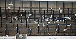 Seagulls attack the terracing for scraps shortly after the Rangers fans leave Somerset Park