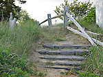 Wood steps from beach. Cape Cod, MA