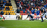 St Johnstone v Dundee…02.10.21  McDiarmid Park.    SPFL<br />Stevie May scores saints third goal<br />Picture by Graeme Hart.<br />Copyright Perthshire Picture Agency<br />Tel: 01738 623350  Mobile: 07990 594431