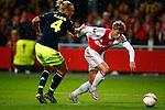 Nederland, Amsterdam, 5 november 2015<br /> Europa League<br /> Seizoen 2015-2016<br /> Ajax-Fenerbahce (0-0)<br /> Viktor Fischer van Ajax passeert Simon Kjaer van Fenerbahce