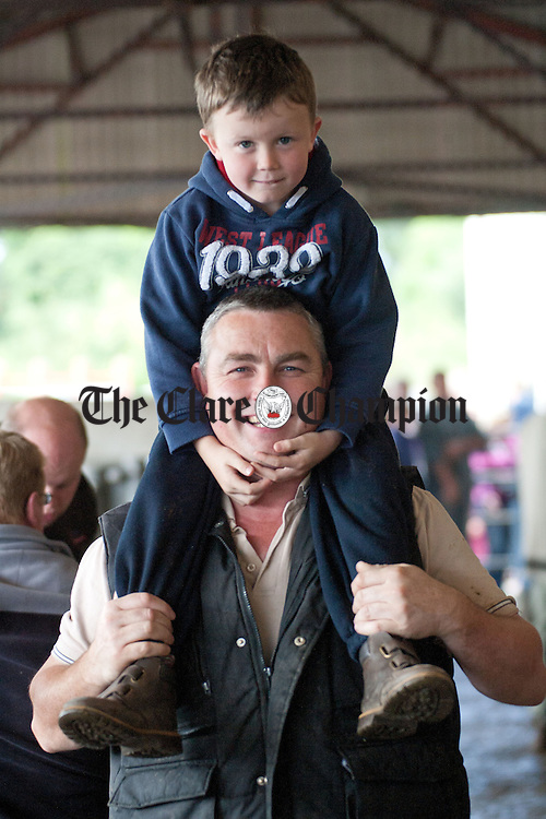270811.Liam White and his son Thomas (7) from Bodyke in Sixmilebridge Mart on saturday morning.