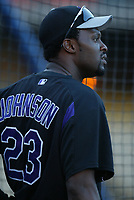 Charles Johnson of the Colorado Rockies during a 2003 season MLB game at Dodger Stadium in Los Angeles, California. (Larry Goren/Four Seam Images)