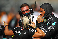 27th September 2020, Sochi, Russia; FIA Formula One Grand Prix of Russia, Race Day;  44 Lewis Hamilton GBR, Mercedes-AMG Petronas Formula One Team discusses his penalty with technical team after the race