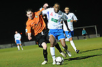 Eastleigh's Anthony Riviere shields the ball from County's Kris Leek. Newport County V Eastleigh, Blue Sqaure South © Ian Cook IJC Photography, 07599826381,  iancook@ijcphotography.co.uk, www.ijcphotography.co.uk