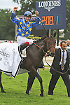 Saonois (no 17 ), ridden by A. Hamelin and trained by JP Gauvin, wins the 176th running of the group 1 Prix du Jockey Club for three year olds on June 03, 2012 at Chantilly Racecourse in Chantilly, France. (Jean-Philippe Debargue/Eclipse Sportswire)