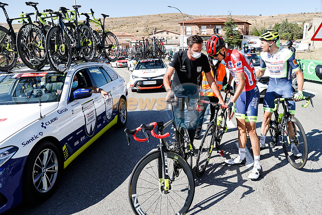 Big crash involving race leader Red Jersey Rein Taaramäe (EST) Intermarché-Wanty-Gobert Matériaux amongst others  during Stage 4 of La Vuelta d'Espana 2021, running 163.9km from Burgo de Osma to Molina de Aragon, Spain. 17th August 2021.    <br /> Picture: Luis Angel Gomez/Photogomezsport | Cyclefile<br /> <br /> All photos usage must carry mandatory copyright credit (© Cyclefile | Luis Angel Gomez/Photogomezsport)