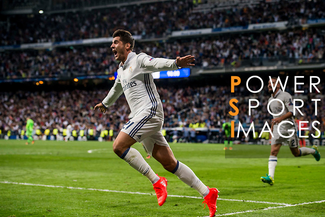 Alvaro Morata of Real Madrid celebrates during their 2016-17 UEFA Champions League match between Real Madrid vs Sporting Portugal at the Santiago Bernabeu Stadium on 14 September 2016 in Madrid, Spain. Photo by Diego Gonzalez Souto / Power Sport Images