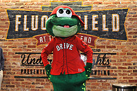 Reedy Rip'It, mascot of the Greenville Drive, poses for a photo during the annual Hot Stove Event to promote the upcoming 2018 baseball season on Monday, January 29, 2018, at Fluor Field at the West End in Greenville, South Carolina. (Tom Priddy/Four Seam Images)