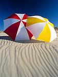 Tunisia, Djerba: two sunshades, beach; dune