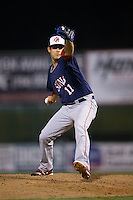 Hagerstown Suns relief pitcher Luis Torres (11) in action against the Kannapolis Intimidators at Kannapolis Intimidators Stadium on May 4, 2016 in Kannapolis, North Carolina.  The Intimidators defeated the Suns 7-4.  (Brian Westerholt/Four Seam Images)