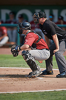 Nick Hutchins (30) of the Idaho Falls Chukars on defense during the game against the Ogden Raptors at Lindquist Field on July 29, 2018 in Ogden, Utah. The Raptors defeated the Chukars 20-19. (Stephen Smith/Four Seam Images)