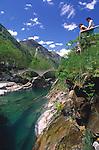 Switzerland, Ticino, Lavertezzo at Verzasca Valley: Ponte dei Salti - roman bridge across river Verzasca