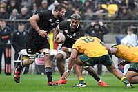 Hoskins Sotutu of the New Zealand All Blacks is tackled during the Bledisloe Cup - New Zealand v Australia at Sky Stadium, Wellington, New Zealand on Sunday 11 October 2020. <br /> Photo by Masanori Udagawa. <br /> www.photowellington.photoshelter.com