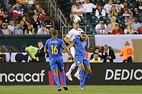 PHILADELPHIA, PENNSYLVANIA - JUNE 30: Aaron Long #23, Jafar Arias #19 during the 2019 CONCACAF Gold Cup quarterfinal match between the United States and Curacao at Lincoln Financial Field on June 30, 2019 in Philadelphia, Pennsylvania. PHILADELPHIA, PENNSYLVANIA - JUNE 30: Aaron Long #23, Jafar Arias #19 during the 2019 CONCACAF Gold Cup quarterfinal match between the United States and Curacao at Lincoln Financial Field on June 30, 2019 in Philadelphia, Pennsylvania.