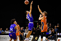 Kenneth Tuffin of the Wellington Saints and Tom Cowie of the Southland Sharks during the round two NBL match between the Wellington Saints and the Southland Sharks at TSB Bank Arena, Wellington, New Zealand on Friday 7 May 2021.<br /> Photo by Masanori Udagawa. <br /> www.photowellington.photoshelter.com
