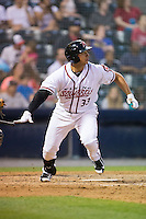 Ricky Oropesa (33) of the Richmond Flying Squirrels watches the flight of his solo home run in the bottom of the eighth inning against the Bowie Baysox at The Diamond on May 23, 2015 in Richmond, Virginia.  The Baysox defeated the Flying Squirrels 3-2.  (Brian Westerholt/Four Seam Images)