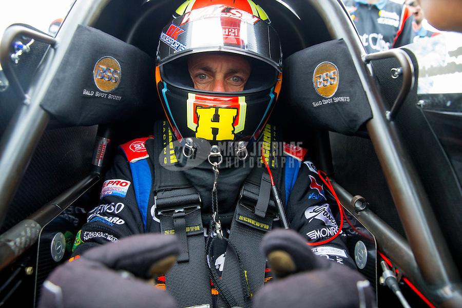 Jun 6, 2015; Englishtown, NJ, USA; NHRA top fuel driver Clay Millican during qualifying for the Summernationals at Old Bridge Township Raceway Park. Mandatory Credit: Mark J. Rebilas-