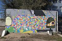 Wandbild in Karakol, Kirgistan, Asien<br /> Mural in Karakol, Kirgistan, Asia