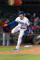 Omaha Storm Chasers relief pitcher Kyle Zimmer (31) during a Pacific Coast League game against the Memphis Redbirds on April 26, 2019 at Werner Park in Omaha, Nebraska. Memphis defeated Omaha 7-3. (Zachary Lucy/Four Seam Images)