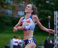 5th June 2021; Birmingham University Athletics Track, Birmingham, Midlands, England; European 10000 Metre Finals, British Olympic Trials 10000 Metre; Eilish McColgan post race emotions after qualifying for the Olympics