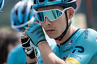 Miguel 'Superman' Angel Lopez (COL/Astana) getting rid of his face mask at the race start in Megève<br /> <br /> Stage 5: Megève to Megève (154km)<br /> 72st Critérium du Dauphiné 2020 (2.UWT)<br /> <br /> ©kramon