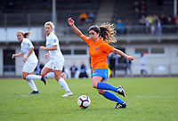 Action from the Kate Sheppard Cup women's football semifinal between Wellington United and Coastal Spirit at Newtown Park in Wellington, New Zealand on Saturday, 24 August 2019. Photo: Dave Lintott / lintottphoto.co.nz