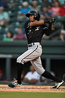 Center fielder Joel Booker (27) of the Kannapolis Intimidators bats in Game 4 of the South Atlantic League Championship Series against the Greenville Drive on Friday, September 15, 2017, at Fluor Field at the West End in Greenville, South Carolina. Greenville won 8-3 for the team's first SAL Championship, winning the series 3-1. (Tom Priddy/Four Seam Images)
