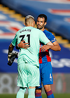 12th September 2020; Selhurst Park, London, England; English Premier League Football, Crystal Palace versus Southampton; Luka Milivojevic of Crystal Palace hugs Goalkeeper Vicente Guaita of Crystal Palace after full time