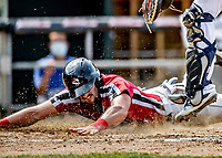 6 June 2021: Binghamton Rumble Ponies catcher Hayden Senger slides home safely to score the go-ahead run making the score 3-2 for the Ponies in the 6th inning against the New Hampshire Fisher Cats at Northeast Delta Dental Stadium in Manchester, NH. The Rumble Ponies defeated the Fisher Cats 9-6 to close out their 6-game series. Mandatory Credit: Ed Wolfstein Photo *** RAW (NEF) Image File Available ***