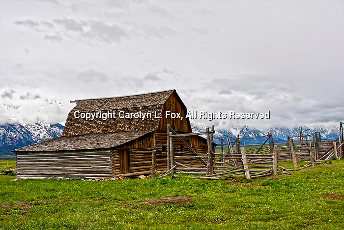 The historic Moulton Barn stands in front of the Teton Mountain Range in Jackson Hole, Wyoming.