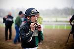 Jockey,Martin Pedroza after a race at Santa Anita Park in Arcadia California on February 11, 2012.