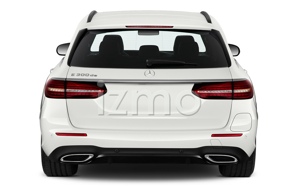 Straight rear view of 2021 Mercedes Benz E-Class AMG-Line 5 Door Wagon Rear View  stock images