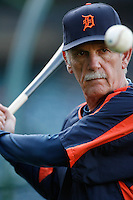 Detroit Tigers Manager Jim Leyland during batting practice before a game against the Los Angeles Angels in a 2007 MLB season game at Angel Stadium in Anaheim, California. (Larry Goren/Four Seam Images)