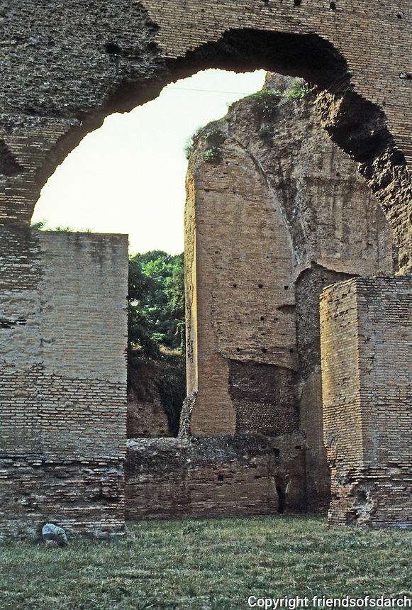 Italy: Rome--Baths of Caracalla. Vast rooms built into western outer wall. Photo '83.