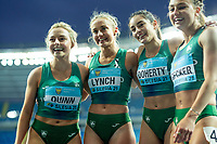 2nd May 2021; Silesian Stadium, Chorzow, Poland; World Athletics Relays 2021. Day 2; Irish women's silver medalists Quinn, Lynch, Doherty and Becker celebrate together