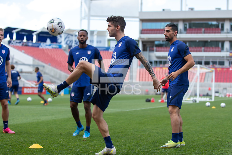 SANDY, UT - JUNE 8: Christian Pulisic passes the ball during a training session at Rio Tinto Stadium on June 8, 2021 in Sandy, Utah.