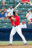 Juan Perez #10 of the Richmond Flying Squirrels at bat against the Harrisburg Senators in game one of a double-header at The Diamond on July 22, 2011 in Richmond, Virginia.  The Squirrels defeated the Senators 3-1.   (Brian Westerholt / Four Seam Images)