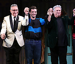 """Moises Kaufman, Michael Urie and Harvey Fierstein  during the Broadway Opening Night Curtain Call for """"Torch Song"""" at the Hayes Theater on November 1, 2018 in New York City."""